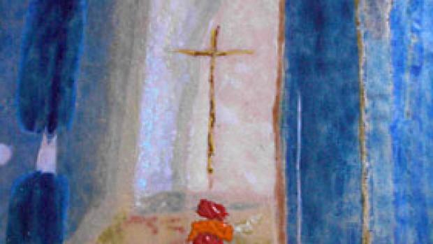 Élément du Chemin de croix, d'après les aquarelles de Pierre Lafoucrière. Basilique de Paray-le-Monial (71).