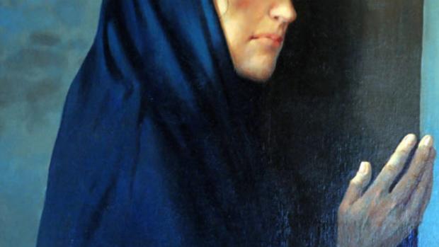 Vierge au pied de la Croix, peinture de Michel CIRY exposée dans l'église Saint-Valery, Seine-Maritime (76), France.