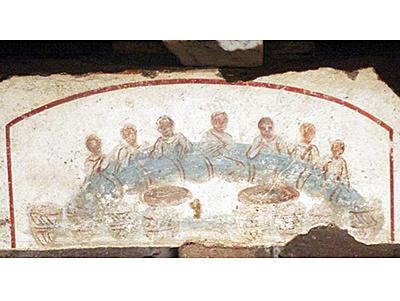 Repas de communion, Rome, catacombe de Saint Callixte