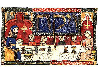 Repas pascal, Haggadah, XIVème siècle, London British Library