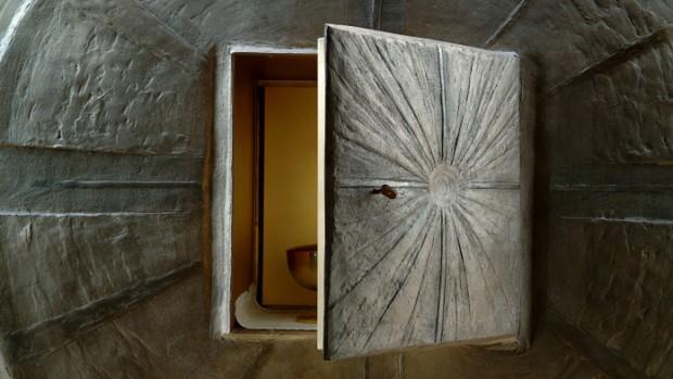 Détail du tabernacle de l'Eglise Maria Theotokos, Loppiano, Italie.