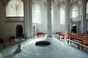 Centre baptismal, église Petri, vue intérieure sud- ouest, Lutherstadt Eisleben