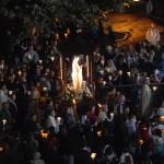 13 septembre 2008: Procession mariale sur l'esplanade des sanctuaires de Lourdes (65), France.