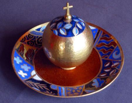 Ampoule pour le saint Chrême créée par Léa Sham's et Alain Duban. Elle a été offerte par le diocèse de Limoges à Mgr Dufour.