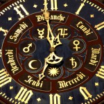 Horloge de la Cathédrale Notre-Dame de Strasbourg, portail sud. Oeuvre du XVIe s. Bas Rhin (67), Alsace, France.