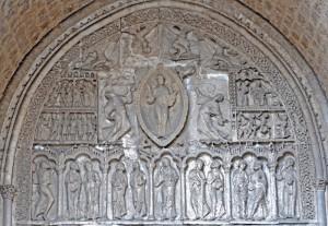 2009: Ascension du Christ, tympan sculpté en 1135, Cathédrale Saint Etienne, Cahors, Lot (46), Midi Pyrénées, France.