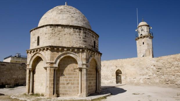 13 août 2009 : Dôme de l'Ascension édifié au XIIIe s., Jérusalem, Mont des Oliviers, Israël, Moyen-Orient.  13th of august 2009 : Dome of the Ascension. Jerusalem, Mount of Olives, Israel.