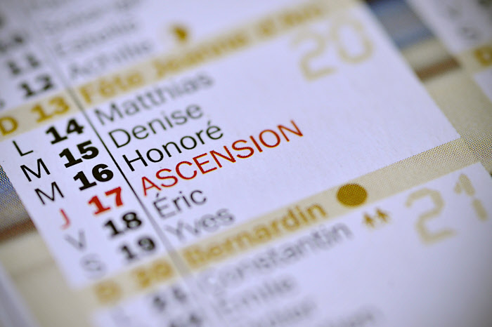 3 avril 2012: Illustration calendrier, jour de l'ascension, France.