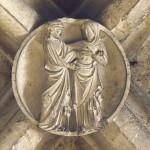 La Visitation. Clé de voûte du XVe s. Cathédrale Saint Etienne d'Auxerre, Yonne (89), Bourgogne, France.