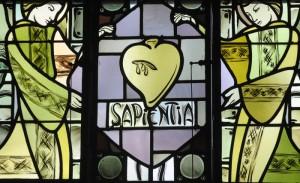"""Mai 2010: """"Sagesse"""", un des sept dons du Saint Esprit, Vitrail de la chap. de la Providence, Rouen (76), France. May 2010: Stainglass, La Providence, Rouen, France."""