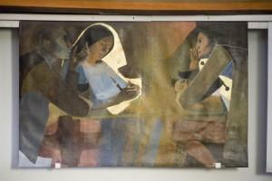 """4 février 2010 : """"Les pèlerins d'Emmaüs"""" oeuvre du peintre d'ARCABAS, Musée d'Art Sacré Contemporain dans l'Egl. de Saint-Hugues-de-Chartreuse entièrement consacré aux oeuvres du peintres ARCABAS (travaux réalisés entre 1953 et 1991). Isère (38), France. February 04, 2010 : The musée d'art sacré contemporain in the Ch. of Saint-Hugues-de-Chartreuse. Monumental paintings and creations by ARCABAS, painter born in 1926. Isère, France. En publiant cette photo, vous vous engagez à verser des droits à l'ADAGP."""