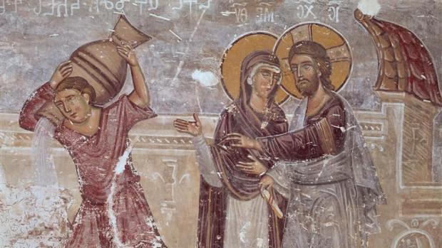 Eglise du Saint-Sauveur, transept sud : Les noces de Cana, fragment. Fresque du 14ème siècle.