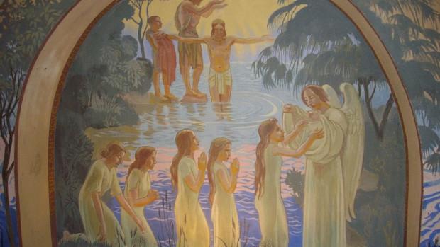 Intérieur de l'église Saint-Nicaise de Reims (Marne, France) : le baptistère, orné par Maurice Denis en 1934 ; baptême du Christ