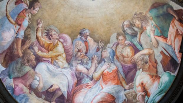 Fresque représentant la Pentecôte, dans une église romaine.