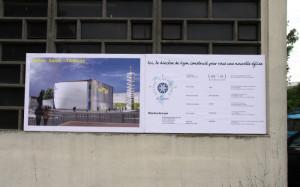 30 avril 2010 : Projet de l'église Saint Thomas construite sur l'emplacement de la Chapelle du Pont des Planches, Vaulx en Velin (69), France.