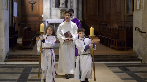 Procession d'entrée de la messe des Cendres.