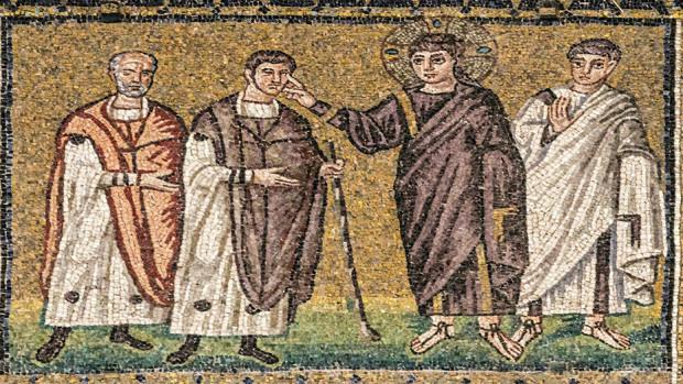 Jésus guérit un aveugle. Mosaïque, première moitié du VIe siècle. Basilique Saint- Apollinaire-le-Neuf de Ravenne. Illlustration du colloque ISEO et ISL 2020.
