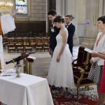 30 septembre 2017 : Bénédiction de jeunes mariés en l'église Saint-Ambroise. Paris (75), France.
