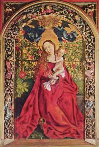 La Vierge au buisson de roses de Martin Schongauer, 1473 et son cadre sculpté du XIXe siècle.