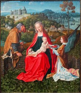 La Sainte Famille et un ange, par le Maîtres aux Madonnes joufflues, vers 1530