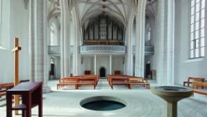 Centre baptismal, église Petri, vue intérieure de l'aile ouest, Lutherstadt Eisleben