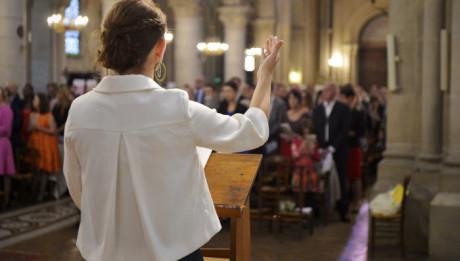 18 octobre 2014 : Mariage d 'Anaïs et Jean-Baptiste célébré à l'église Saint-Ambroise , Paris (75), France.