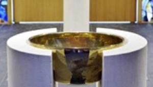 """26 août 2015 : Fin du déploiement de la cathédrale Notre-Dame de Créteil, dans le cadre des """"Chantiers du Cardinal"""". Baptistère. Créteil (94), France.  August 26, 2015: Deployment of Notre-Dame de Créteil Cathedral. Créteil, France."""