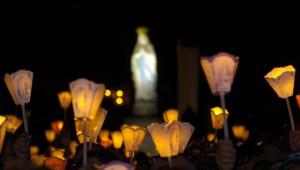 Flambeaux de la Procession Mariale, Lourdes (65), France.
