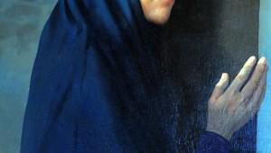 14 mai 2010: Vierge au pied de la Croix, peinture de Michel CIRY exposée dans l'égl. Saint-Valery, Seine-Maritime (76), France.  May 14, 2010: Chur. Saint-Valery of Varengeville-sur-mer, Seine -Maritime (76), France.  En publiant cette photo, vous vous engagez à verser des droits à l'ADAGP.