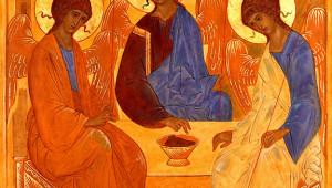 janvier 1997: Art Sacré, copie avec variante de l'Icône de la sainte Trinité de Andreï Roublev.