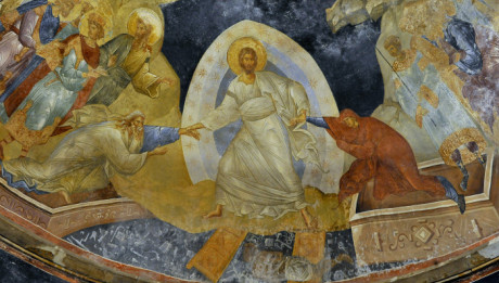 Novembre 2014 : Fresque de l'Anastasis (Resurrection). Le Christ prend Adam et Eve par le poignet pour les sauver de la mort et de l'Enfer. Eglise byzantine Saint Sauveur in Chora. Istanbul (Istamboul), Turquie.  November 2014: Fresco of the Resurrection (Anastasis). Byzantine Ch. St. Saviour in Chora. Istanbul, Turquey.