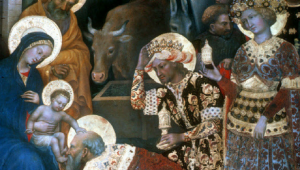 Gentile da Fabriano, L'Adoration des Mages (détail), 1423, tempera sur bois, 203 x 283 cm, Musée des Offices, Florence, Italie.