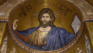 Février 2016 : Christ Pantocrator de la cath. Santa Maria Nuova (Sainte Marie la neuve) de Monreale, Sicile, Italie.