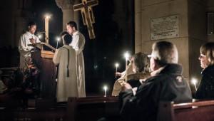 15 avril 2017 : Vigile pascale dans l'église Notre Dame de la Croix à Paris (75), France.