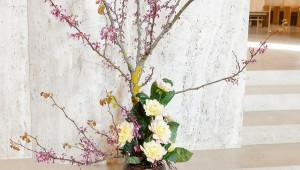 Arbre de Judée, dahlia et feuilles de bergenia.