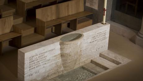 Baptistère de la Cathédrale Sainte Geneviève de Nanterre. Architecte : Jean-Marie Duthilleul (2013).